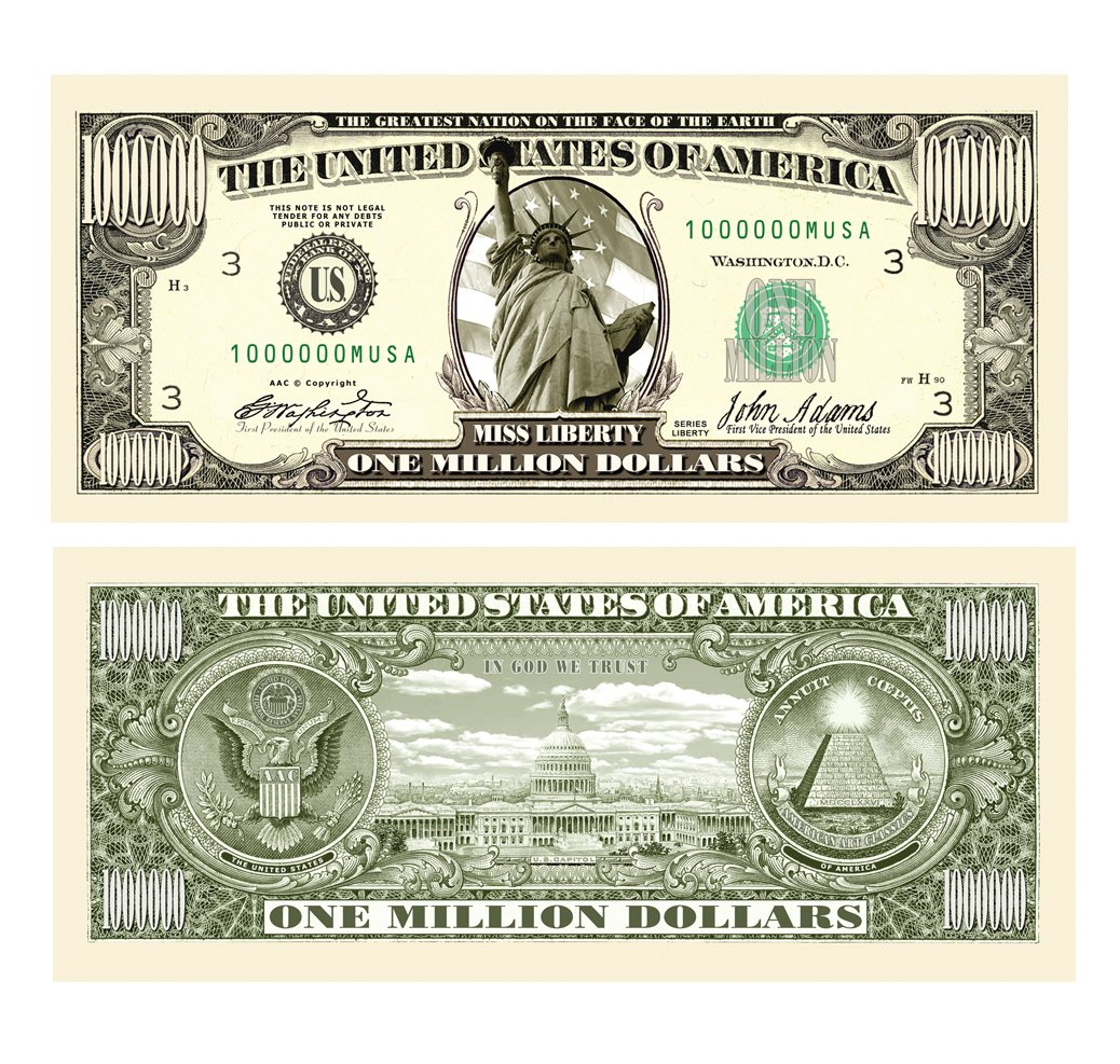 American Art Classics Traditional Million Dollar Bill - Wholesale Pack of 1000 Bills
