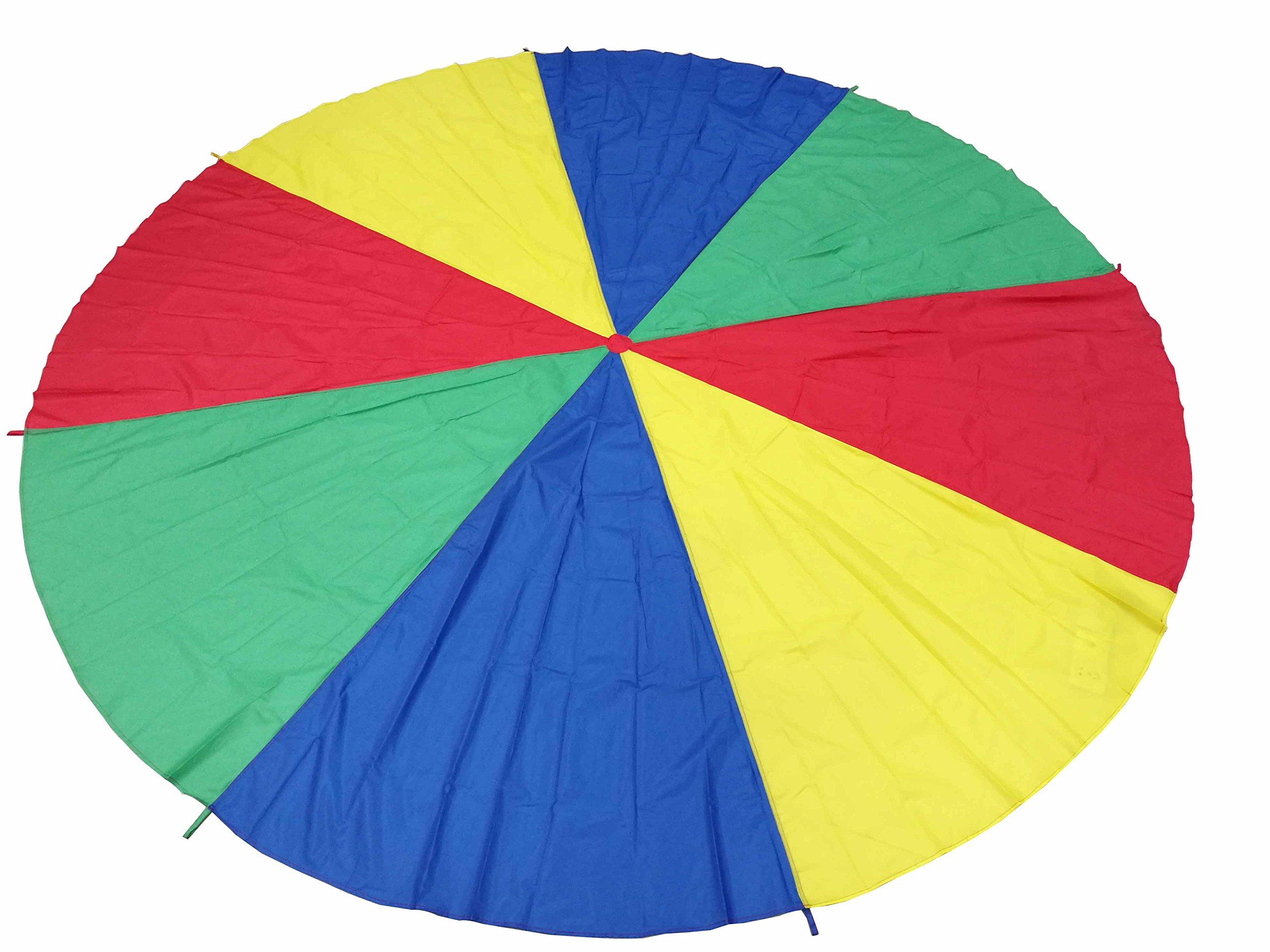 FixtureDisplays 12 Foot Play Parachute for Kids 8 Handles with Storage Bag Play Parachute for Kids Tent Picnic Mat Blanket 16877-NF