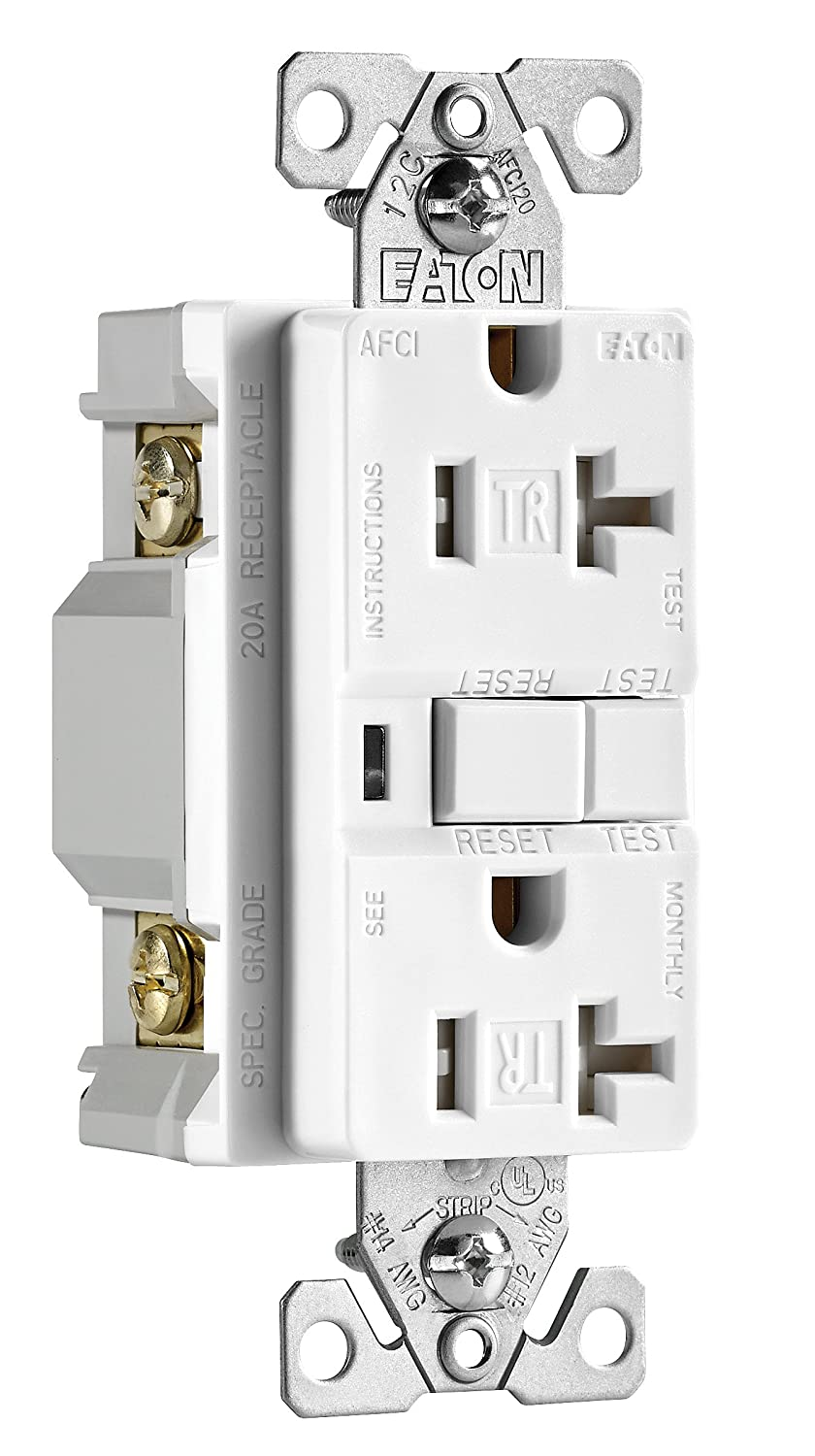 Eaton Wiring Trafci20w 20 Amp Tamper Resistant Afci Receptacle Star Receptacles White Finish