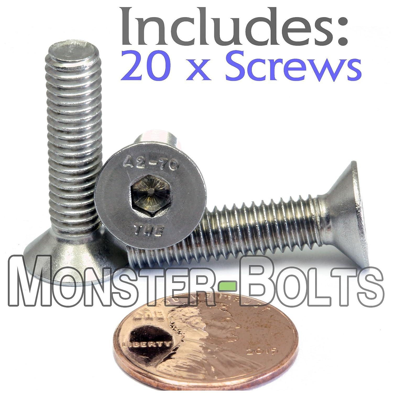 /(10/) M6-1.00 x 10mm - Stainless Steel Flat Head Socket Caps Screws Countersunk DIN 7991 - A2-70//18-8 - MonsterBolts /(10, M6 x 10mm/)