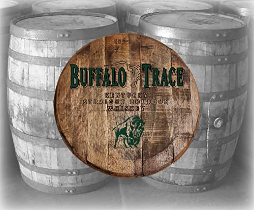 Bar Decor Buffalo Trace Whiskey Bourbon Kentucky Barrel Lid Wood Wall Art