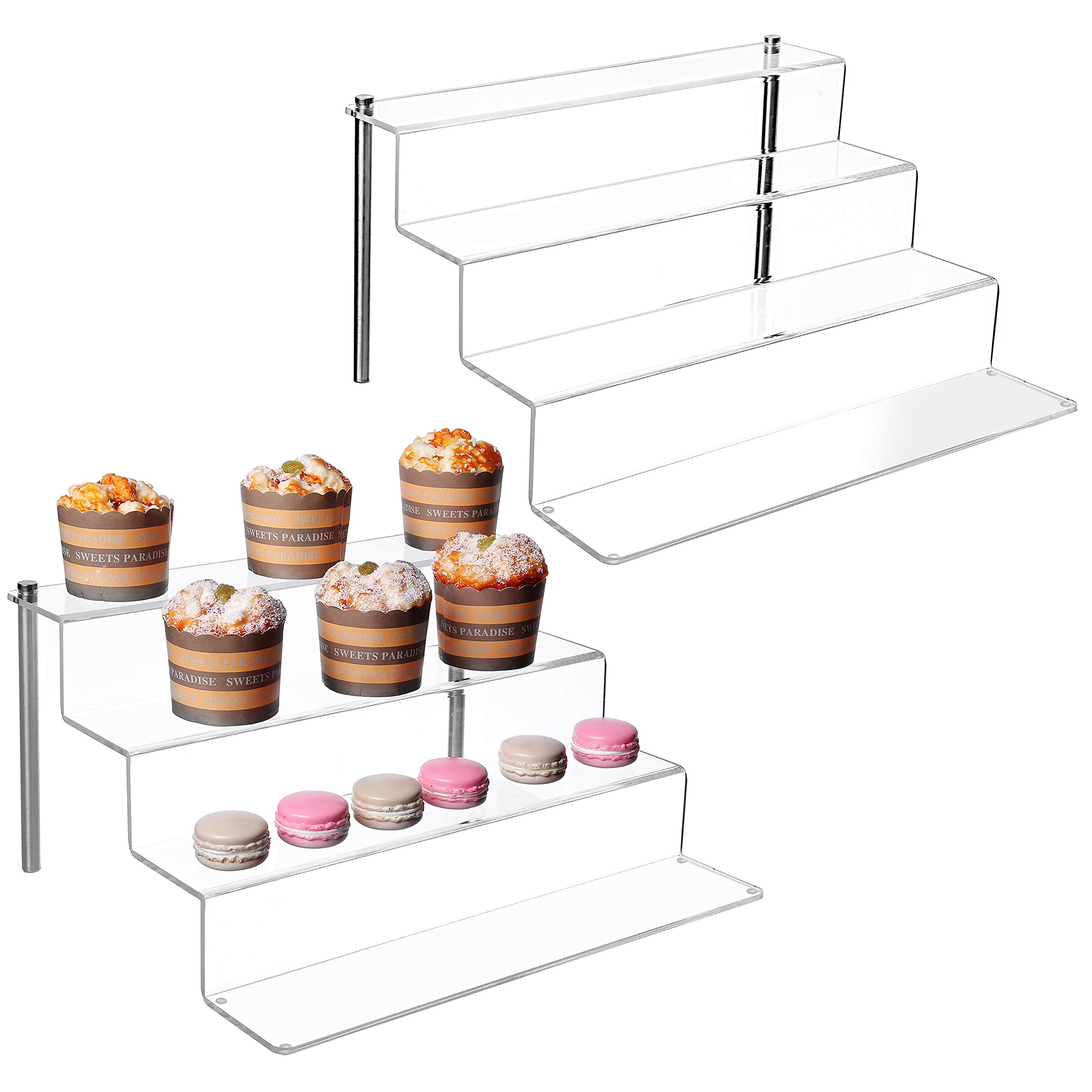 MyGift Clear Acrylic Shelf & Metal Cupcake Stand / 4-Tier Display Riser Rack, Set of 2