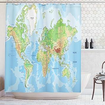 Abakuhaus Duschvorhang Globale Weltkarte Atlas Klassische