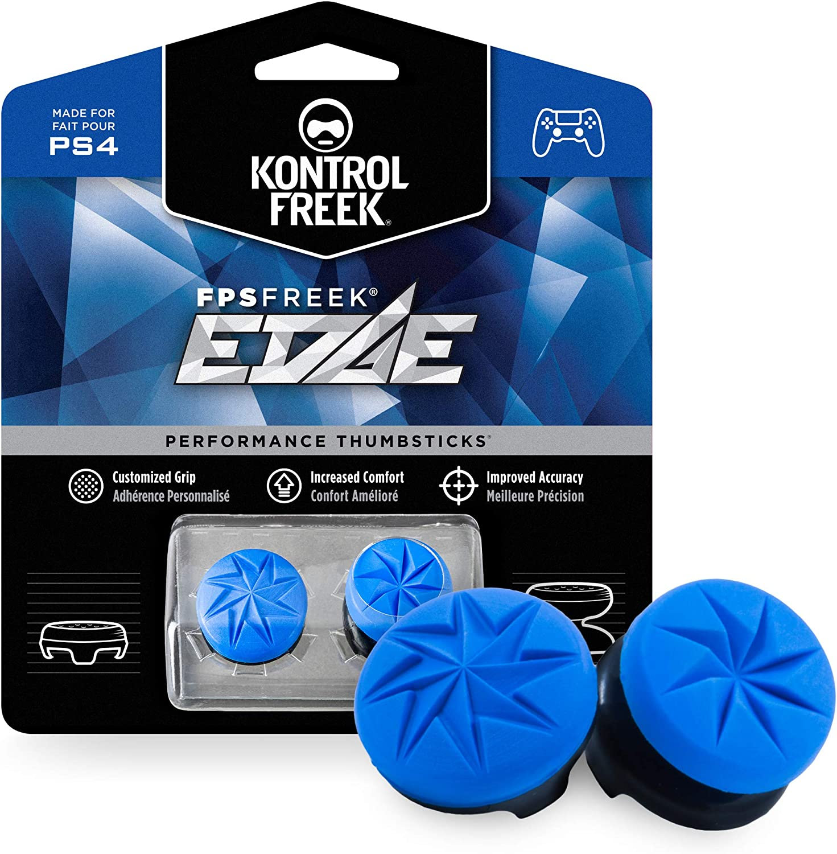 KontrolFreek FPS Freek Edge para mando de PlayStation 4 (PS4) y PlayStation 5 (PS5) | Performance Thumbsticks | 1 gran altura convexa, 1 baja altura convexo | Azul