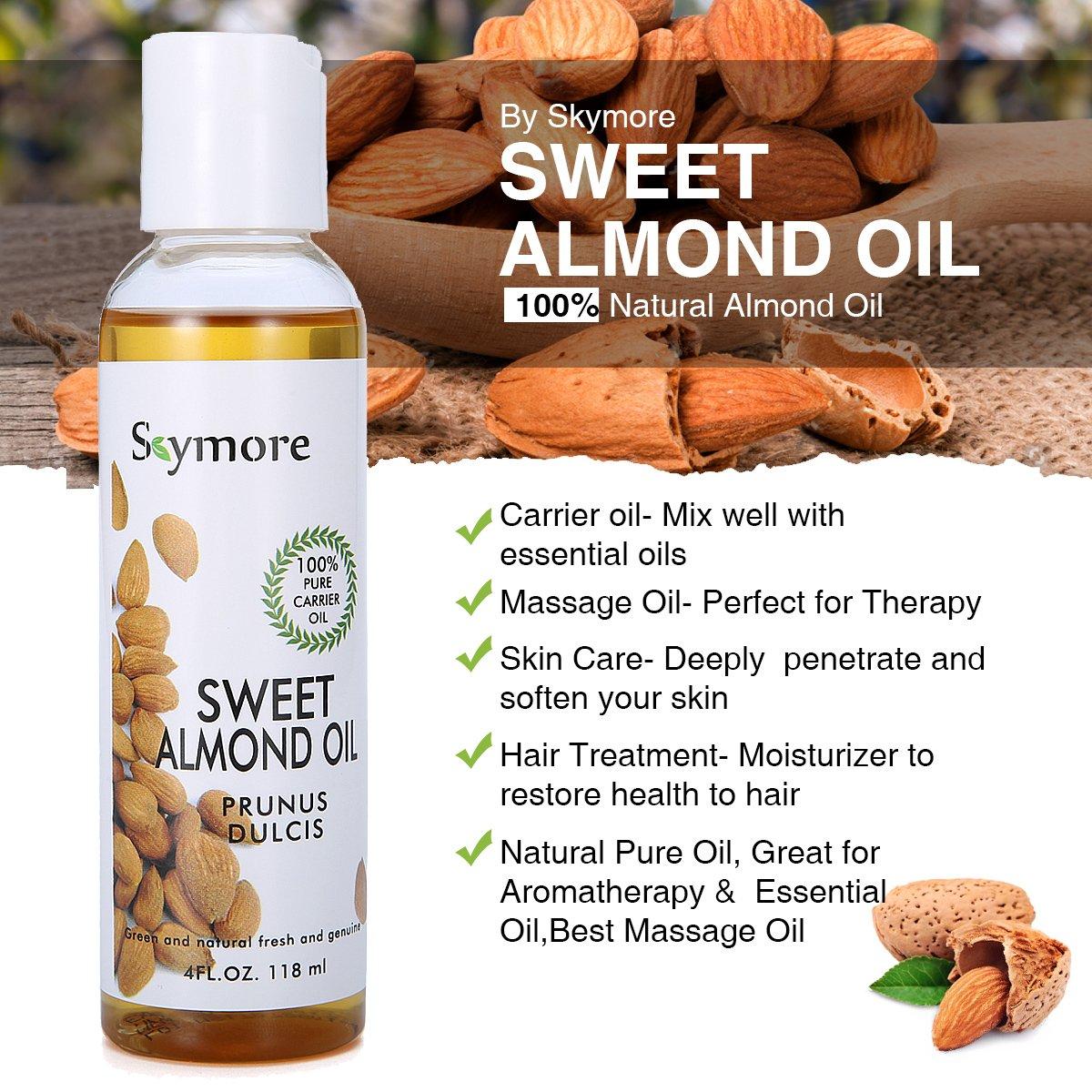 Skymore Top 4 100% Pure Carrier Oil Set (aceite de almendras, aceite de coco, aceite de aguacate, aceite de ricino), Aceite Carrier puro para cabello y uñas ...