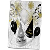 3dRose Doreen Erhardt New Year Collection - Happy New Year Black, White and Gold Not Year Specific - 15x22 Hand Towel (twl_52310_1)