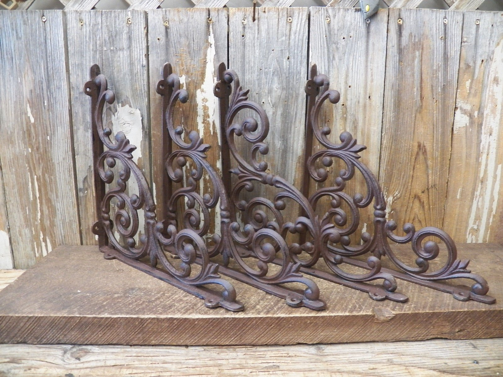 Lot/Set 4 Antique-Style Cast Iron Xtra-Large 13'' x 13'' SHELF BRACKETS Hangers