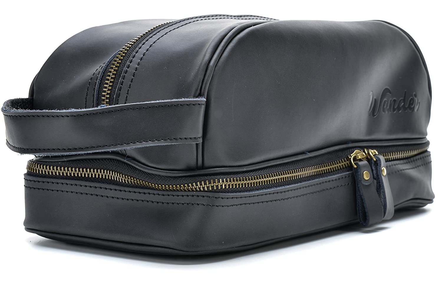 Amazon.com   Black Leather Travel Toiletry Bag, Dopp Kit. FREE Gift bag. By  Wander Travel and Supply.   Beauty fbf0c5ff14