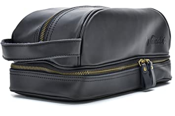 Amazon.com   Black Leather Travel Toiletry Bag, Dopp Kit. FREE Gift bag. By  Wander Travel and Supply.   Beauty 24c93f2084