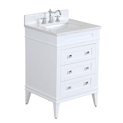 eleanor 24 inch bathroom vanity quartz white includes a white rh amazon com