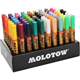 Molotow ONE4ALL Acrylic Paint Marker Complete Set, 1mm and 2mm, Assorted Colors, 70 Markers Per Set, 1 Set Each (200.188)
