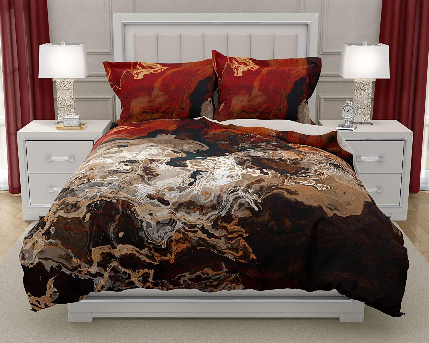 Image of Home and Kitchen King or Queen 3 pc Duvet Cover Set with abstract art, Hammered Copper