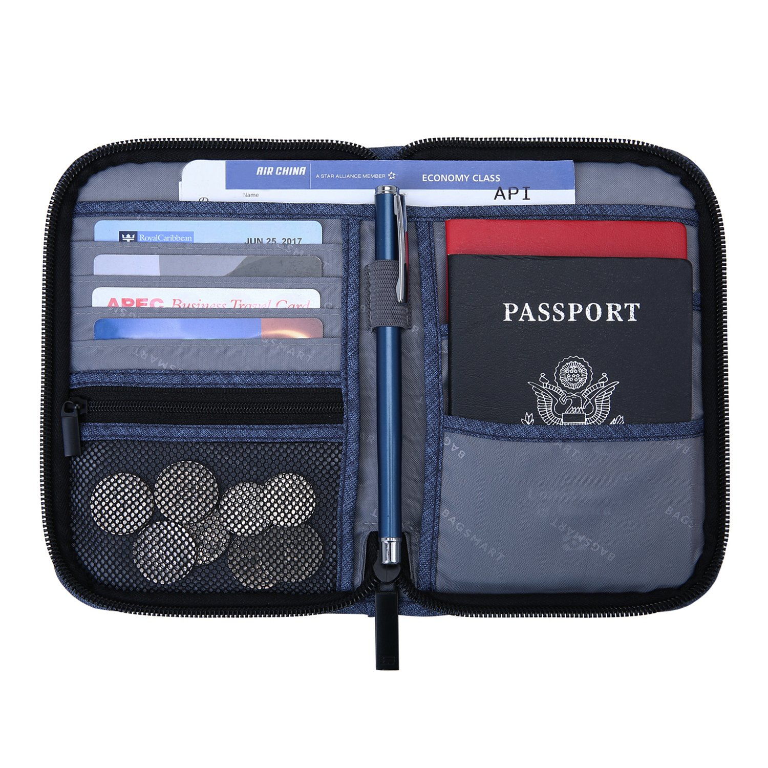 BAGSMART Travel RFID Blocking Wallet Passport Holder Cover Document Organizer for Men and Women BM0200093A001-FUS