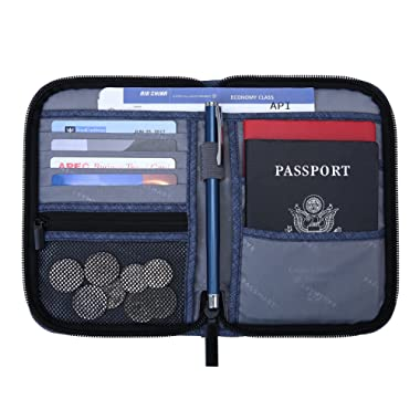 BAGSMART Travel RFID Blocking Wallet Passport Holder Cover Credit Card Organizer for Men and Women