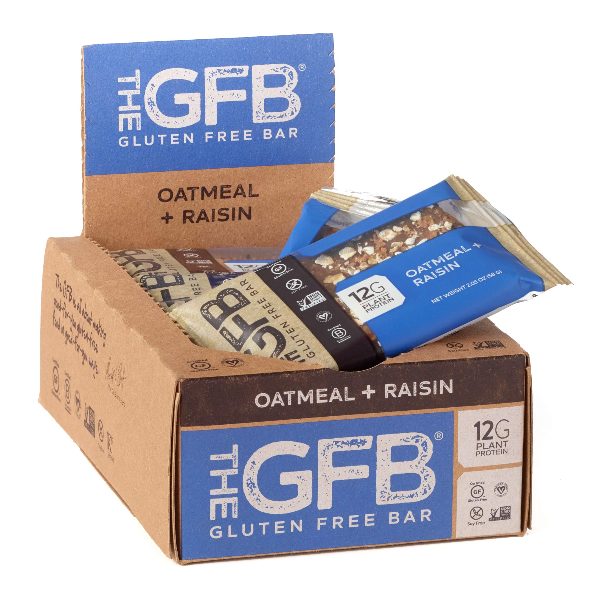 The GFB Protein Bars, Oatmeal Raisin, 2.05 Ounce (Pack of 12), Gluten Free, Non GMO by The Gluten Free Bar