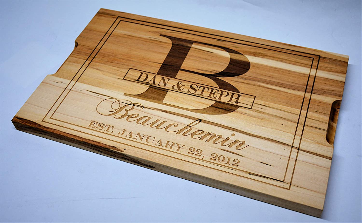 Solid Maple Cutting Board Custom Engraved Design 17