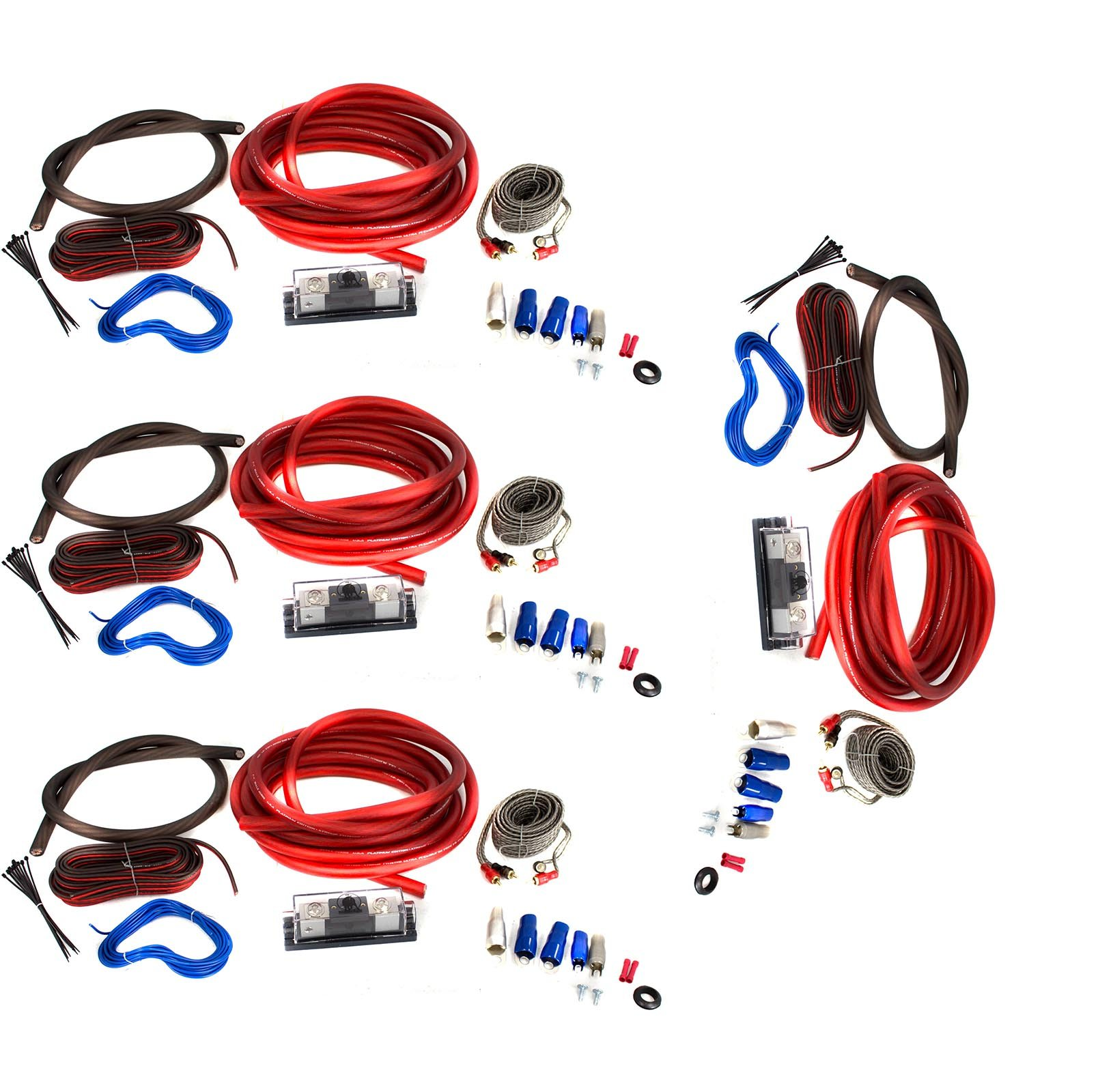 BULLZ AUDIO 1/0 Gauge Car Amplifier Amp Installation Wiring Kit Package, 4-Pack