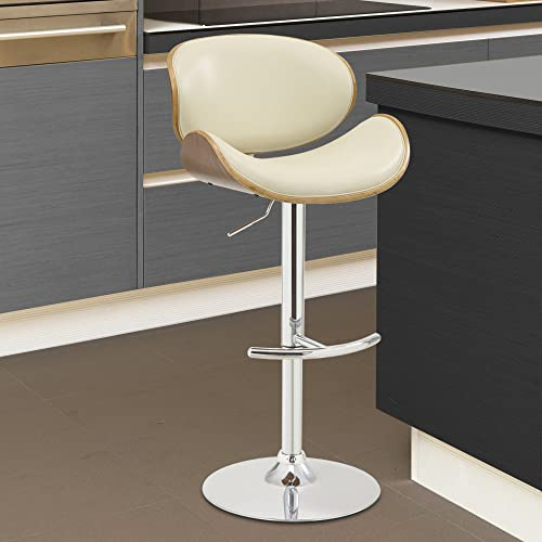 Armen Living Naples Swivel Barstool in Cream Faux Leather, Walnut Wood and Chrome Finish