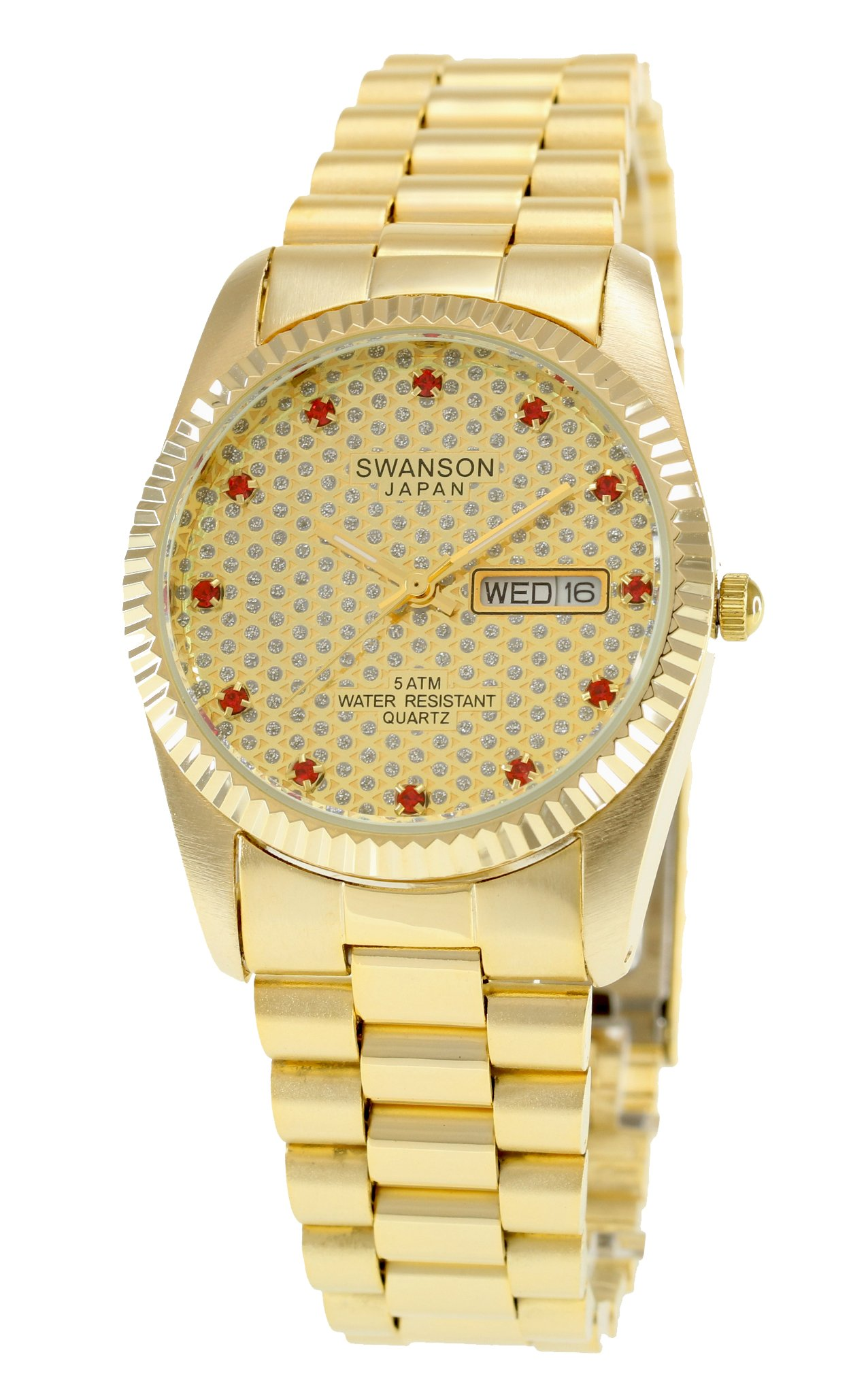 Swanson Men's Gold Day-Date Gold Pave Stone Dial Watch with Travel Case