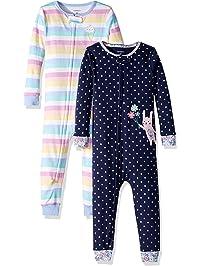 Carter s Girls  Toddler 2-Pack Cotton Footless Pajamas 0cf693b9c