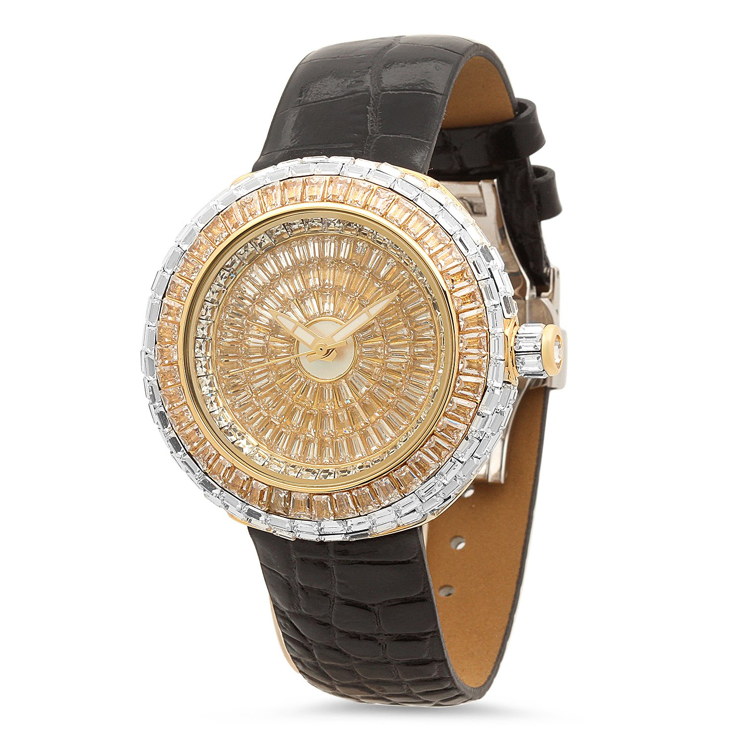 Iced Out Gold Plated 44mm Round Bling Master CZ Watch w-Leather Band