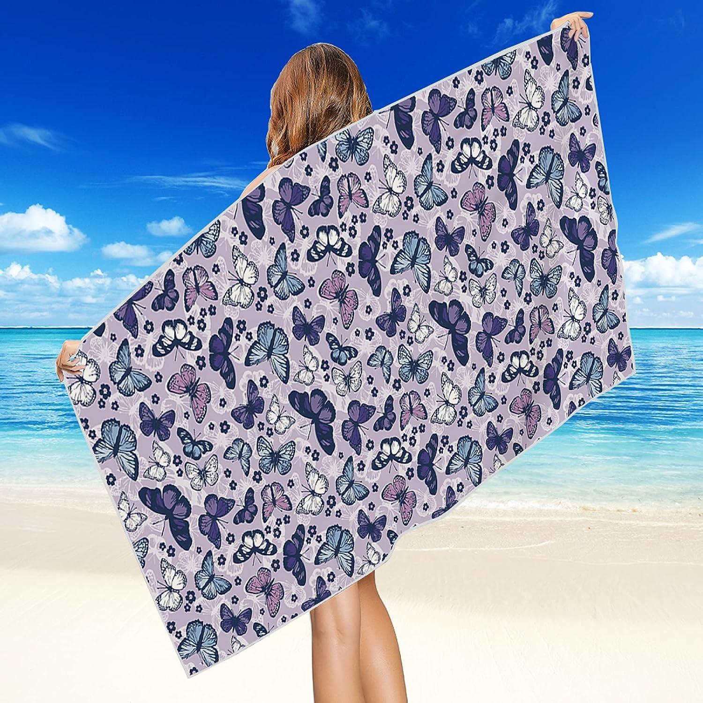 Toallas De Playa De La Serie Butterfly, Toallas Absorbentes De Secado Rápido De Fibra Extrafina, Toallas para Tumbonas De Playa, Toallas para Piscina, Toallas para Exteriores 75 * 150cm