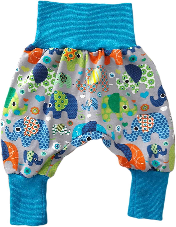 simply-sweet-baby Babyhose Pumphose Haremshose Bunte Elefanten auf Grau