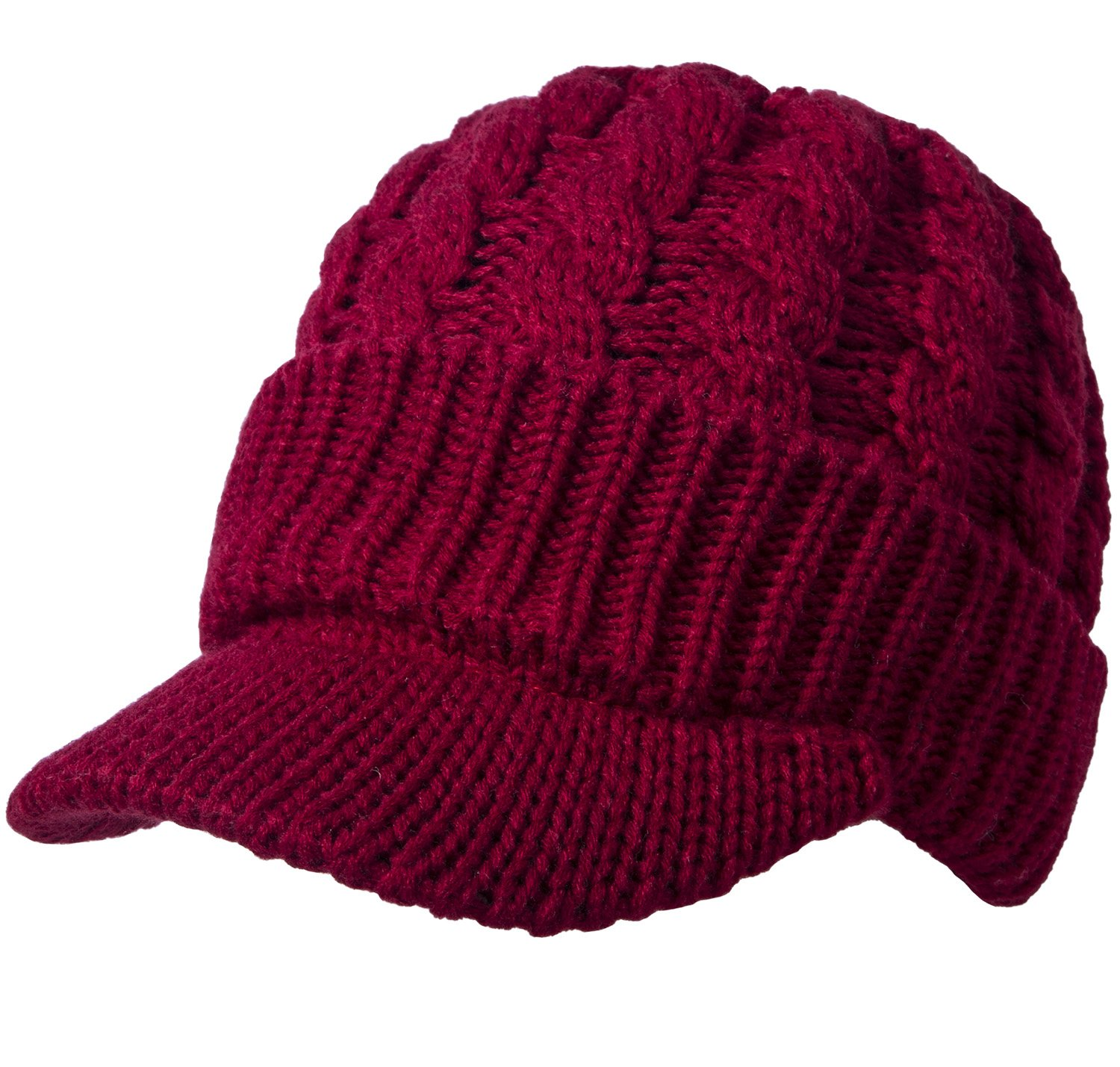Womens Cable Skullies and Beanies, Red, One Size Dash
