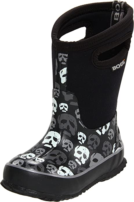 fbc468b5c9 Bogs Kids Classic High Waterproof Insulated Rubber Neoprene Rain Boot,  Skulls Print/Black/