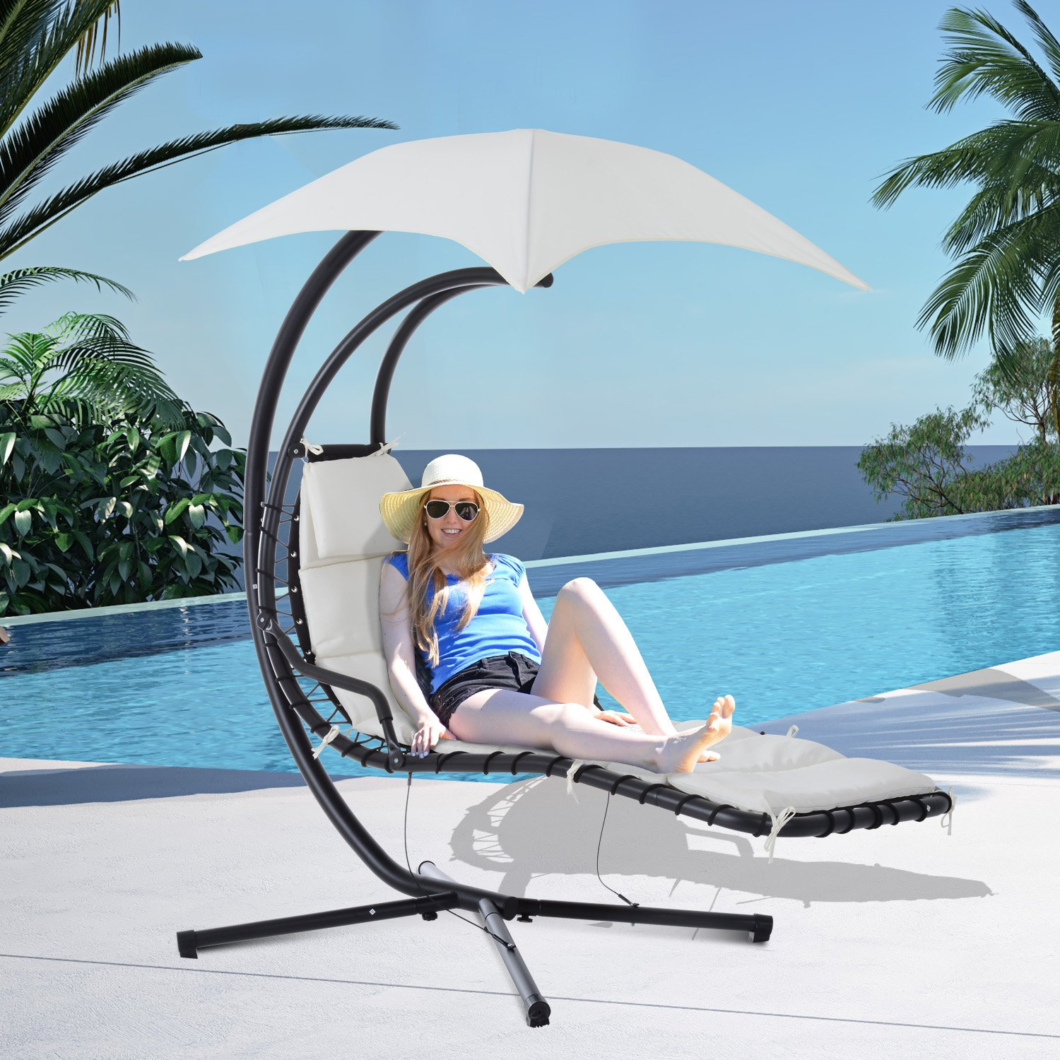 Outsunny Outdoor Hanging Chaise Lounger Chair w Canopy and Stand – Black Cream White