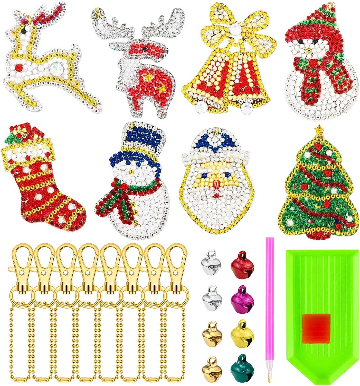 Homgaty 8 PCS Christmas DIY Diamond Key Chain 5D DIY Diamond Painting Key Chain with 8 PCS Bells for Christmas Holiday Bag Decor Mobile Phone Strap Keyring