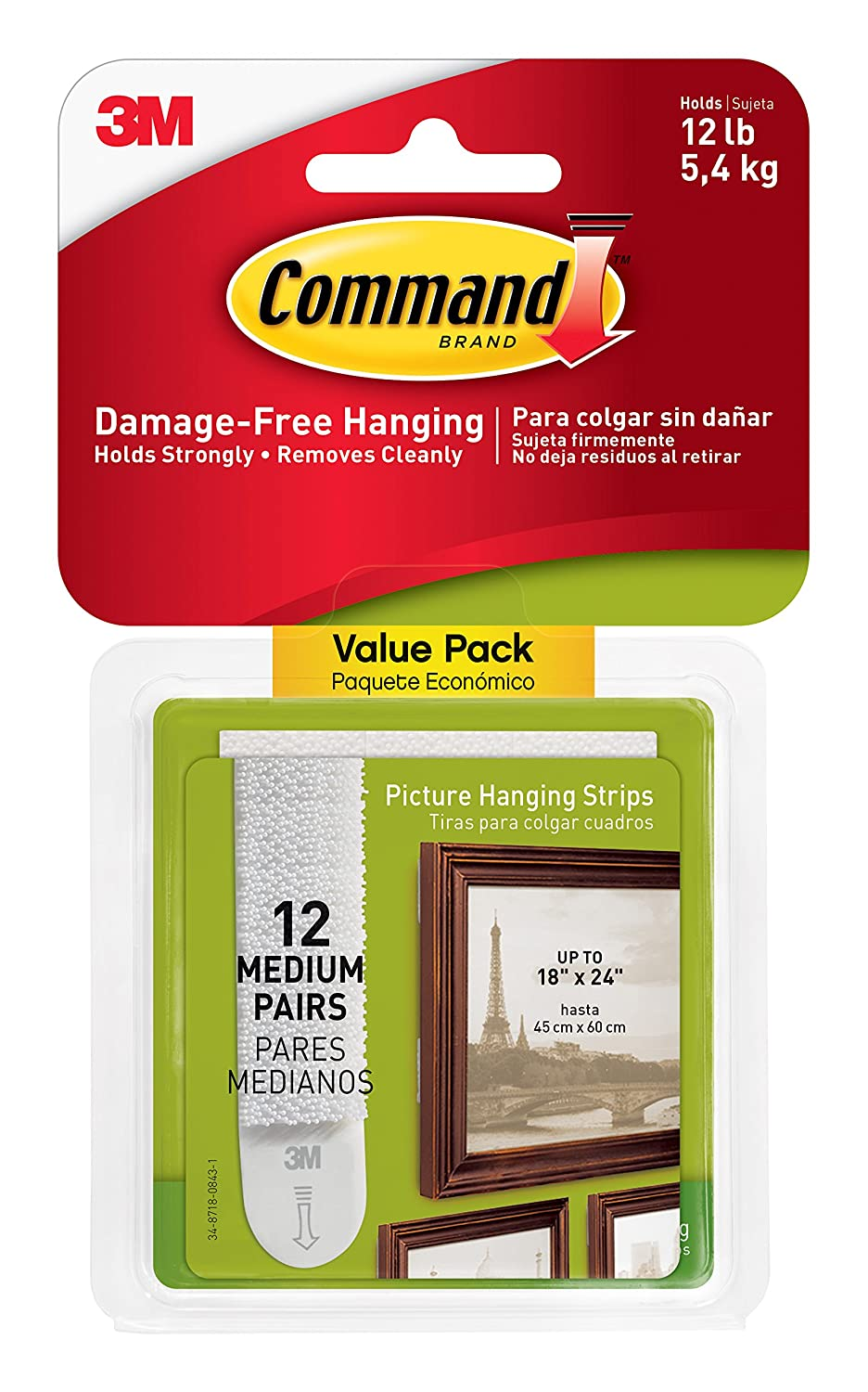 Command Picture Hanging Strips Value Pack, Medium, White, 12-Pairs ...