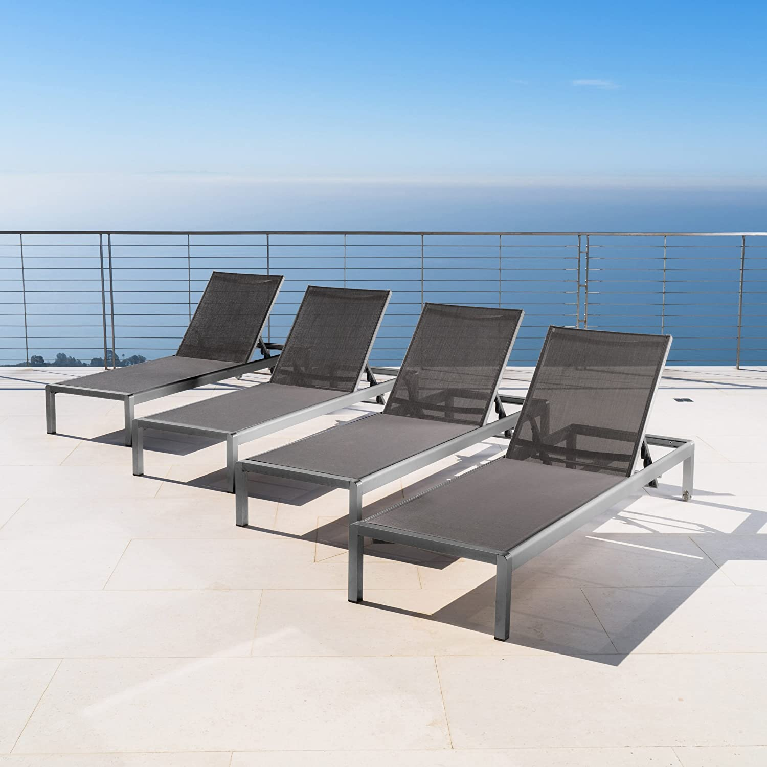 Coral Bay Outdoor Grey Aluminum Chaise Lounge with Dark Grey Mesh Seat Set of 4