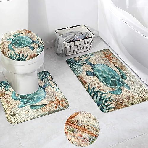 HAOCOO Turtle Bath Rug 3 Piece Soft Velvet Bathroom Rugs Set,20 x 20 U-Shape Contoured Toilet Mat 20 X 31 Rug 1 Lid Cover