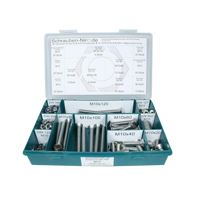 V2A DIN 125, 127, 9021 Unterlegscheiben Edelstahl A2 - 340 Teile DIN 934, 985 Senkschrauben Innensechskant - Set bestehend aus Schrauben und Muttern ISO 10642 Sortiment M8 DIN 7991