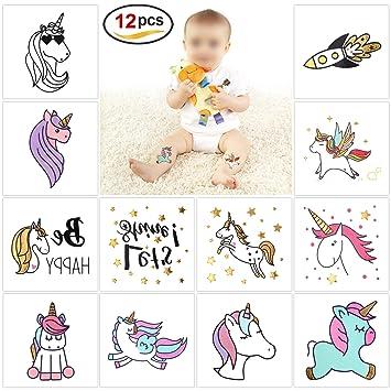 Konsait 12 Unicornio Tatuajes Temporales para Niñas Niños ...