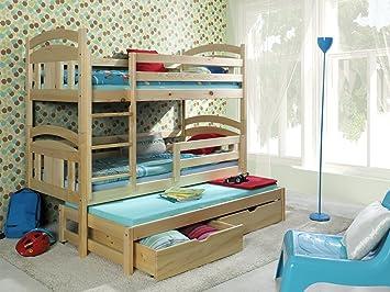Etagenbett Für 3 Kinder : Etagenbett fÜr kinder max mit schubkastentreppe grün eur