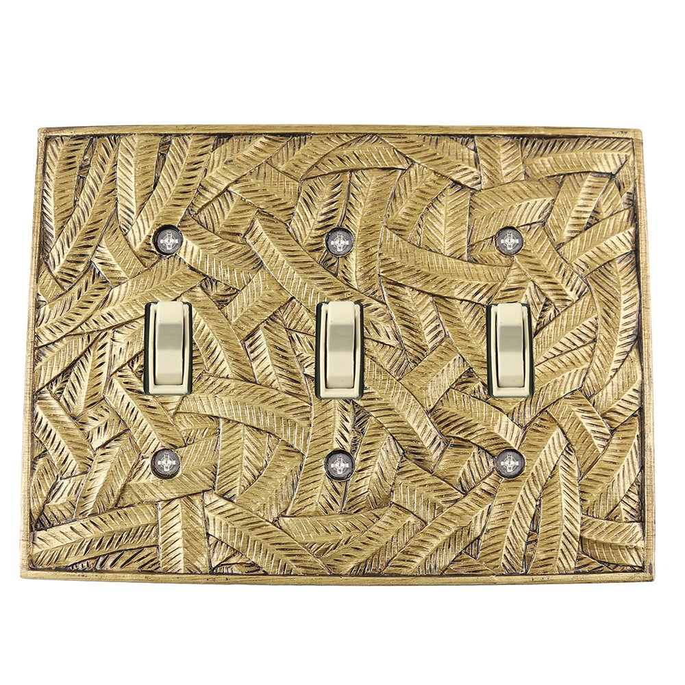 Meriville Island 3 Toggle Wallplate, Triple Switch Electrical Cover Plate, Antique Gold