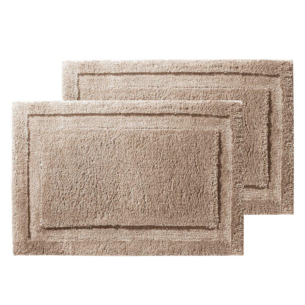 iDesign InterDesign Microfiber Bathroom Shower Accent 34'' x 21'', Pack of 2, Linen Spa Rug 34 x 21 M2, Set of 2, 2 Piece