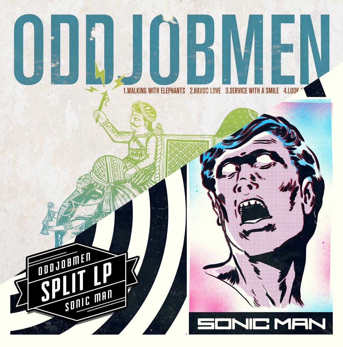 Oddjobmen, Sonic Man - Sonic Elephants (Split LP) (Color