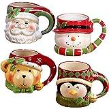 """أكواب شخصيات ثلاثية الأبعاد من Certified International """"Santa, Snowman, Penguin & Bear"""" (مجموعة من 4)، متعددة الألوان"""