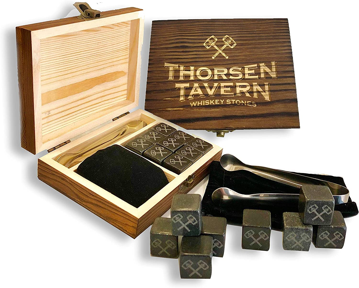Whiskey Stones Set by Thorsen Tavern - 9 Granite Whiskey Chilling Stones, 1 Tongs set
