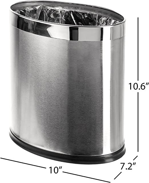 Amazon Com Brelso Invisi Overlap Open Top Stainless Steel Trash Can Small Office Wastebasket Modern Home Decor Oval Shape Home Kitchen