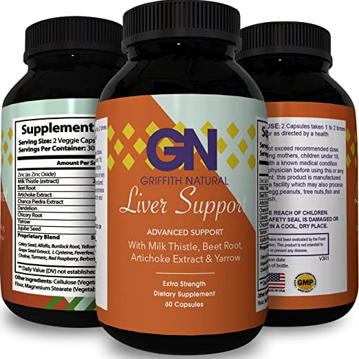 Herbal Liver Detox Cleanse For Women & Men - Liver Support Supplement to Cleanse & Detox with Milk Thistle + Dandelion + Artichoke for Liver Detoxification + Improve Digestion - Griffith Natural