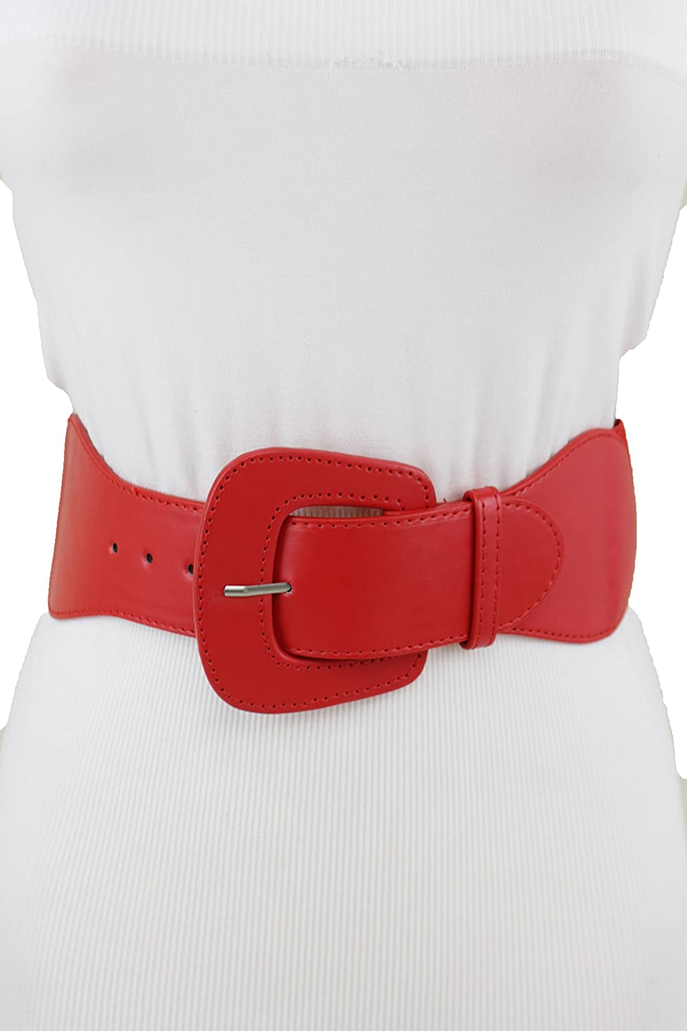5d723bb36d2 TFJ Women Western Elastic Wide Red Belt Faux Leather Big Square Buckle ML XL
