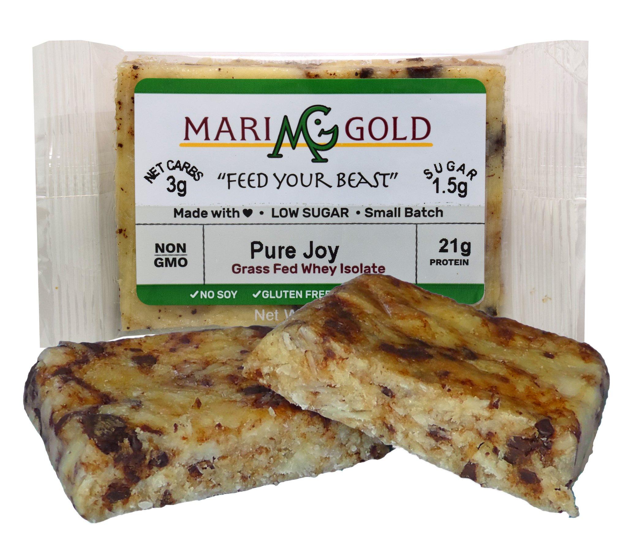 Keto (2-3 NET CARB) Protein Bar by MariGold - Amazing Taste Ketogenic Snacks - Organic Fats, 1 g Sugar, 21 g Protein GRASS FED Whey - Non GMO. Made Fresh, Ships Fresh. (12 bars) by MariGold Bars (Image #8)