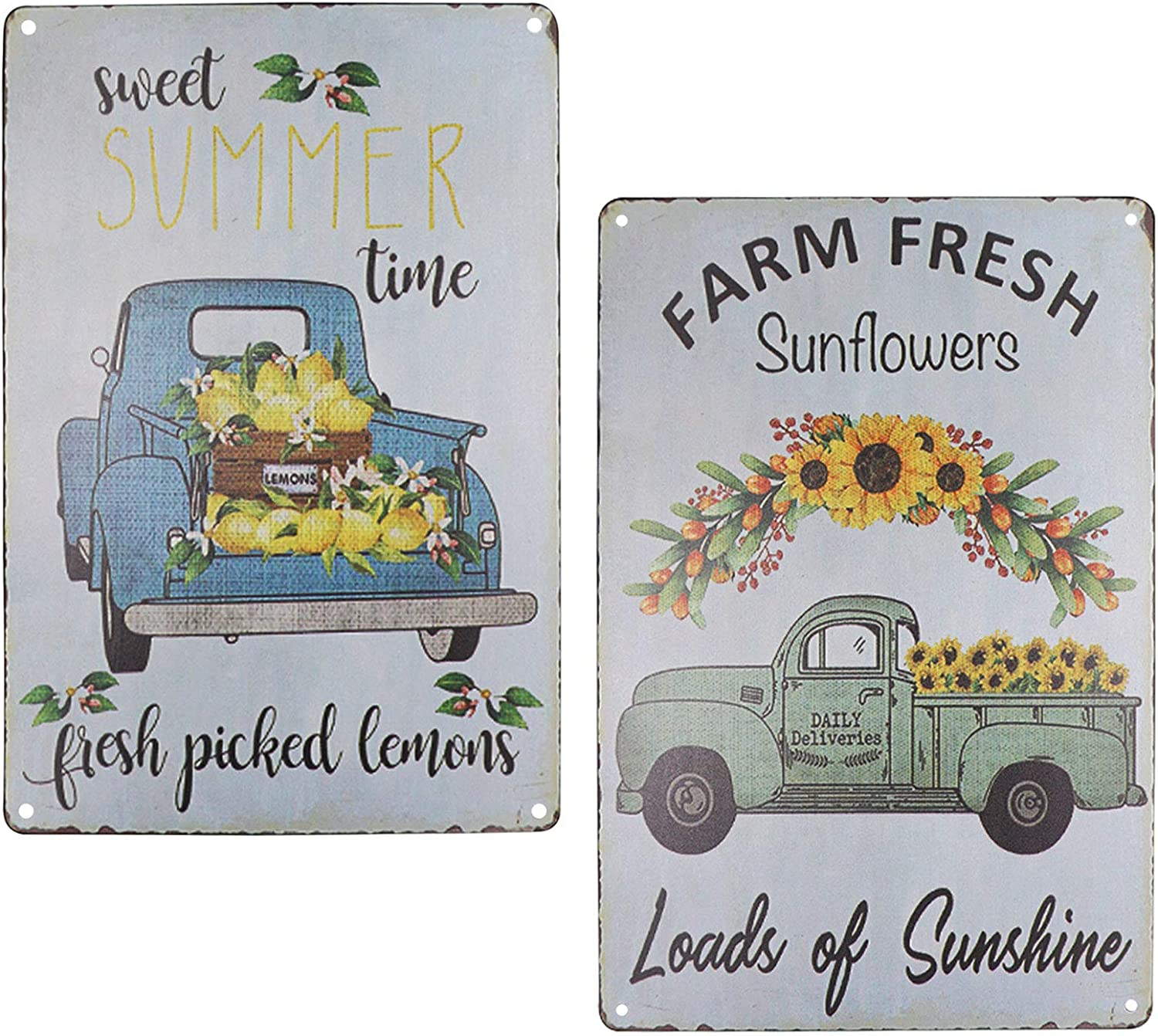 TISOSO Two Truck with Farm Fresh Sunflowers Lenmon Vintage Metal Tin Sign Wall Art Decor Home Coffee Bar Signs Gifts Decoration 2Pcs-8X12Inch