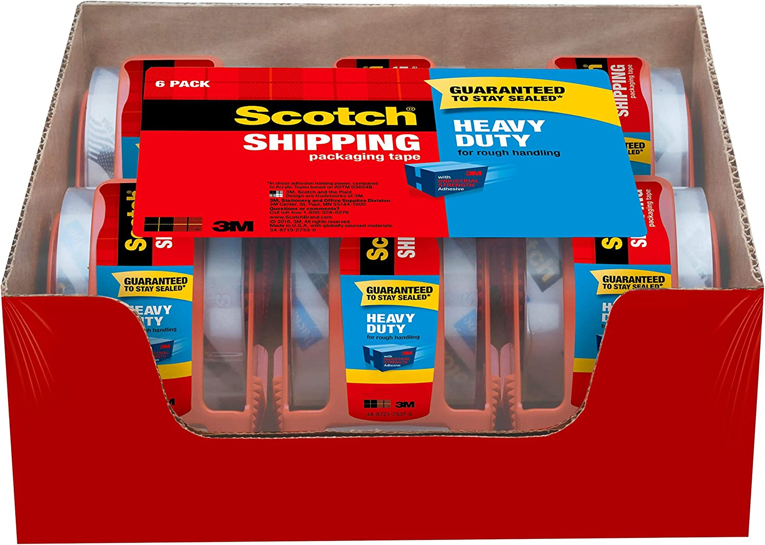 "Scotch Heavy Duty Shipping Packaging Tape, 6 Rolls with Dispenser, 1.88"" x 22.2 Yards, 1.5"" Core, Great for Packing, Shipping & Moving, Clear (142-6) : Packing Tape : Office Products"
