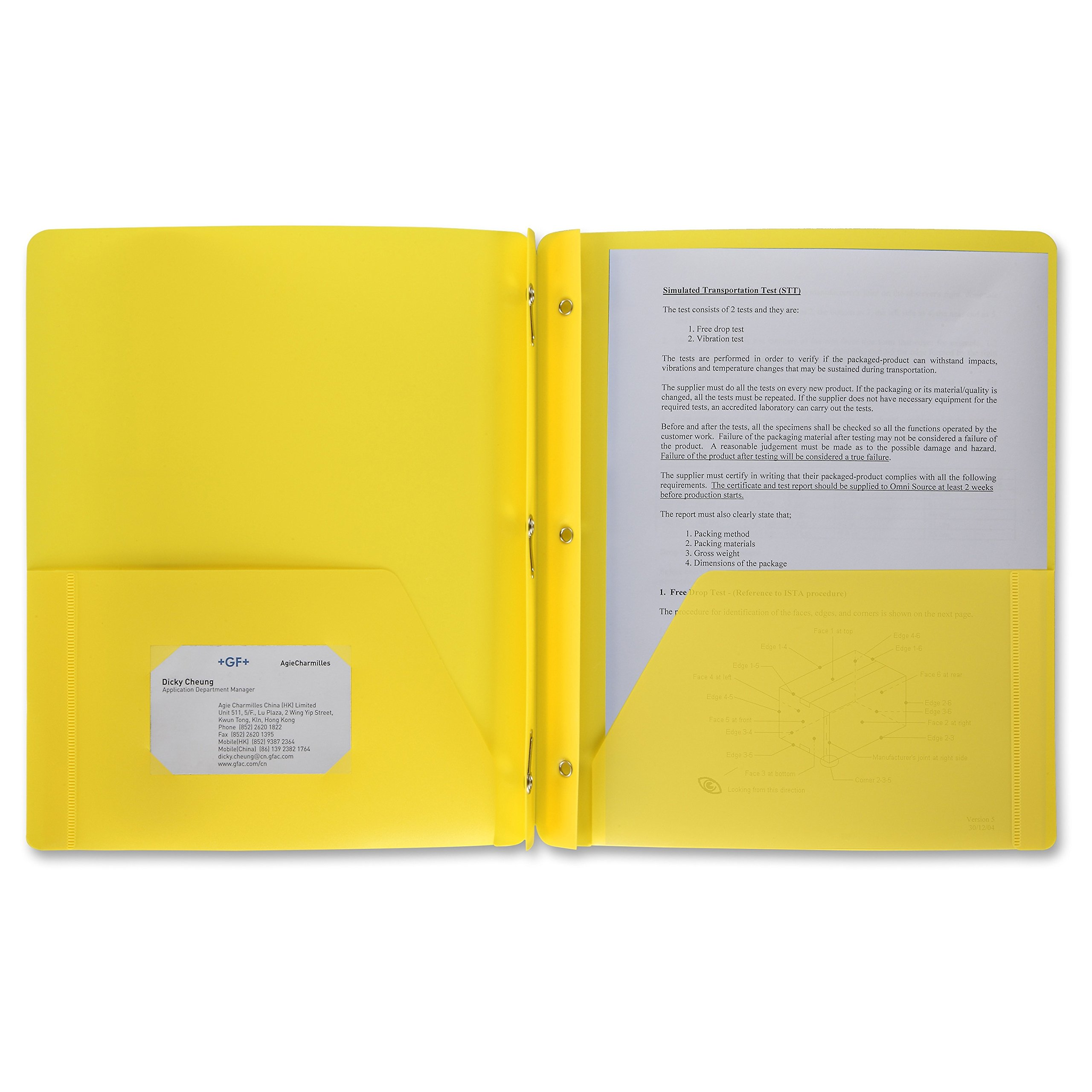48 PackPoly Plastic Portfolio School Report Covers, 3 Hole Punched with Prongs, 8.5 x 11, Solid Colors, Durable, Spill Resistant/Water Resistant (Yellow)