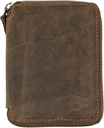 Men/'s biker/'s natural leather zipper around wallet without any logos or markings